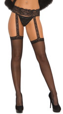 Sheer Thigh Highs with Lace Garterbelt - Black