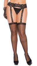 Plus Size Sheer Thigh Hi W/Lace Garterbelt - Black