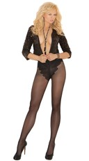Plus Size French Cut Support Top Pantyhose - Black