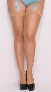 Plus Size Lace Top Stockings - Nude