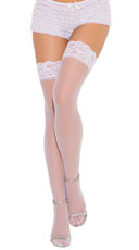 Plus Size Lace Top Stockings - White
