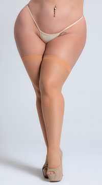 Plus Size Sheer Thigh High Stockings - Nude