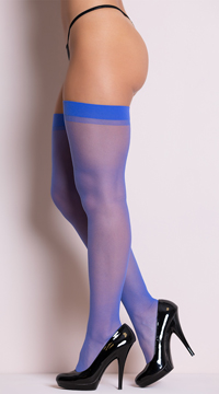 Plus Size Sheer Thigh High Stockings - Royal Blue
