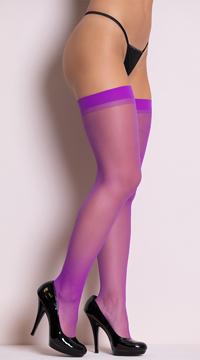 Sheer Thigh High Stockings - Dark Purple