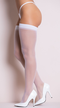 Plus Size Sheer Thigh High Stockings - White
