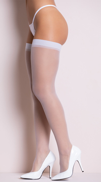 Plus Size Sheer Thigh High Stockings - as shown