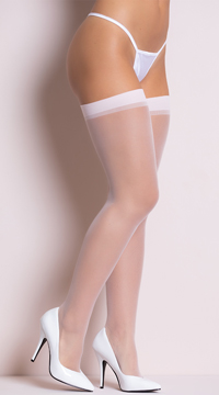Plus Size Sheer Thigh High Stockings - Baby Pink