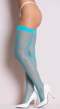 Sheer Thigh High Stockings - Crystal Blue
