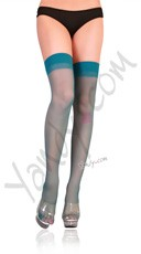 Plus Size Sheer Thigh High Stockings - Turquoise