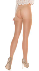 Plus Size Sheer Crotchless Pantyhose - Nude
