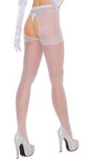 Plus Size Sheer Crotchless Pantyhose - White