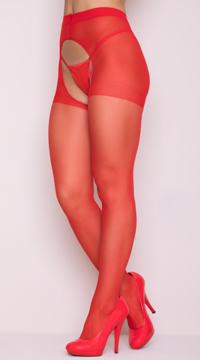 Sheer Crotchless Pantyhose - Red