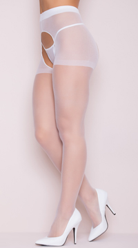 Sheer Crotchless Pantyhose - White