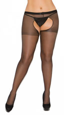 Plus Size Sheer Crotchless Pantyhose - Black