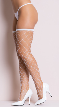 Big Diamond Thigh Highs - White