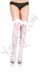 Fishnet Thigh High with Satin Bow - White
