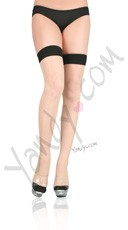 Cuban Heel Thigh Highs - Black/Nude