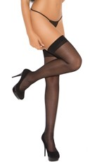 Cuban Heel Thigh Highs - Black