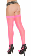 Fishnet Thigh Highs - Neon Pink