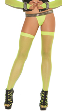 Fishnet Thigh Highs - Neon Green