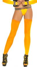 Fishnet Thigh Highs - Neon Orange