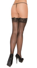 Plus Size Stay Up Thigh High Stockings - Black