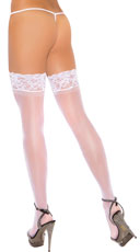 Plus Size Stay Up Thigh High Stockings - White