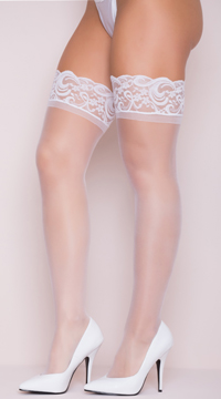 Stay Up Thigh High Stockings - White