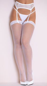Fishnet Thigh High with Lace Top - White
