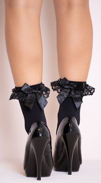 Ruffle and Bow Nylon Anklet - Black