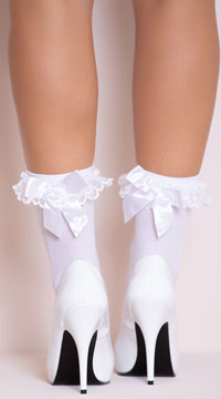 Ruffle and Bow Nylon Anklet - White