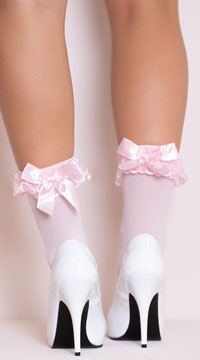 Ruffle and Bow Nylon Anklet - Pink