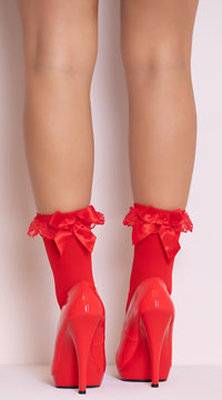 Ruffle and Bow Nylon Anklet - Red