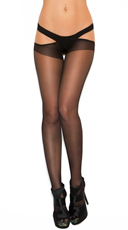Plus Size Sheer Criss Cross Suspender Pantyhose - Black