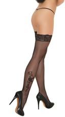 Floral Applique Lace Top Thigh Highs - Black