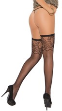 Plus Size Scroll Top Fishnet Thigh Highs - Black