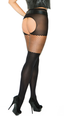 Plus Size Crotchless Mesh and Fishnet Pantyhose - Black