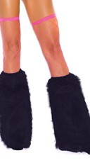 Knee High Fur Boot Covers - Black