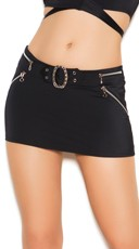 Plus Size Sexy Black Mini Skirt - Black