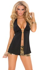 O-Ring Detailed Revealing Halter Top - Black