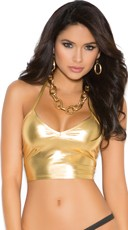 Plus Size Metallic Halter Top - Gold