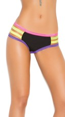 Strappy Neon Trim Panty - Black