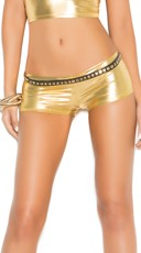 Metallic Booty Shorts - Gold