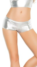 Metallic Booty Shorts - Silver