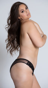 Plus Size Ruffled Crotchless Panty - Black