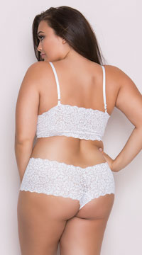 Plus Size Stretch Lace Camisole And Boyshorts - White