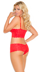 Plus Size Stretch Lace Camisole And Boyshorts - Red