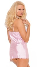 Plus Size Baby Pink Babydoll Lingerie Set - as shown