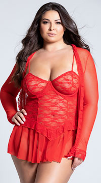 Plus Size Lace Chemise and Robe - Red