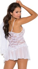 Plus Size Lace Chemise and Robe - as shown